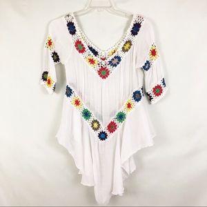 Tops - Boho Embroidered V Neck  Peasant Tunic Sz Small